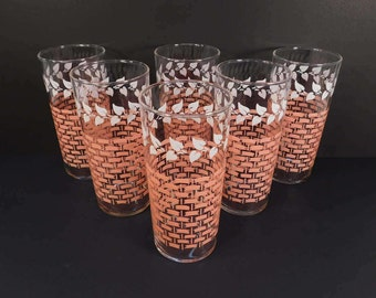 Vintage Federal Glass Pink and White Leaves Drinking Glasses, Mid Century Drinkware