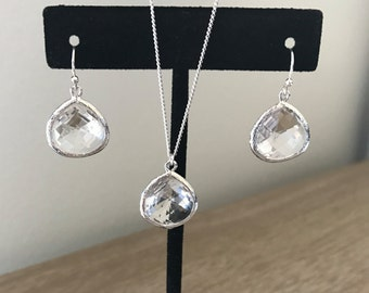 SHIPS FREE, Bridesmaid gift, Bridesmaid necklace and earring set, Mother of the bride gift, Mother of the groom gift