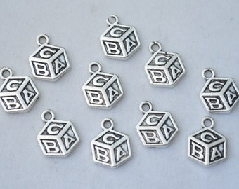 12 Pcs Baby Blocks Charms ABC Charms Antique Silver Tone 14x10mm - YD0515