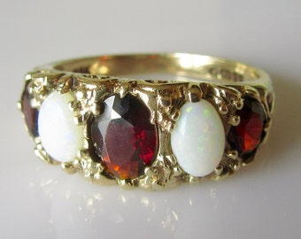 9ct Gold and Garnet and Opal Five Stone Ring
