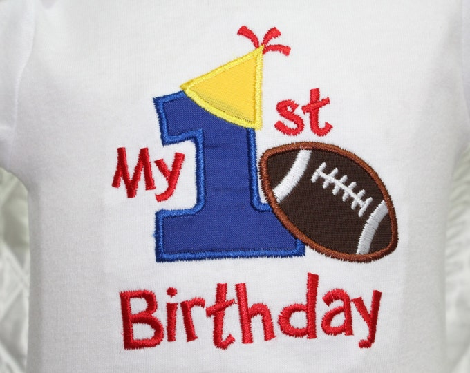 Birthday shirt,First Birthday bodysuit,Cake Smash shirt,Boy first birthday,Boys 1st birthday bodysuit,Football birthday party.Personalized