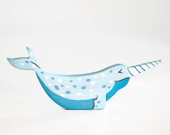 Wooden Sea Unicorn. Toy Narwhal. North Pole animals play set. Arctic animals. Nordic toys