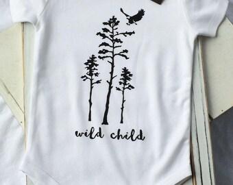 WILD CHILD-Unisex Organic Handprinted Baby ONESIE