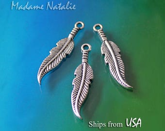 Feather Charms (8) 34x7mm, Tibetan Silver Feather Charms, Feather Pendant, Feather Findings, Long Feather Charm Pendants