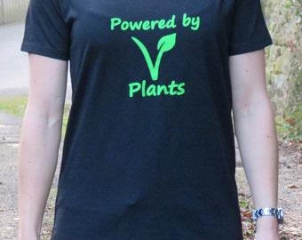 Womens - Vegan Eco-Friendly 'Powered By Plants'  Fairtrade Organic Cotton T-Shirts