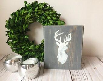 Deer Silhouette  - Rustic Home Decor - Rustic Wedding Decor - Deer Sign - Deer Head - Wood Signs - Antler Decor - Rustic Signs - Deer Decor