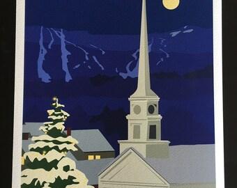 "Stowe Village Night - 11x14"" Print - Unframed"