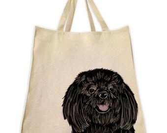 Pet Gifts, Canvas Tote Bag, Black Coat Shih Tzu, Gifts for Dog Lovers, Gifts for Shih Tzu Lovers, Shoulder Handbag, Reusable Bag