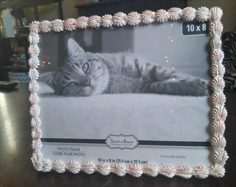 Decorated 8x10 Horizontal Picture Frame - Rainbow Sprinkles