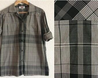 Vintage Rodier Paris Tartan Black & White Loose Shirt/ 100% Cotton/ Made in France