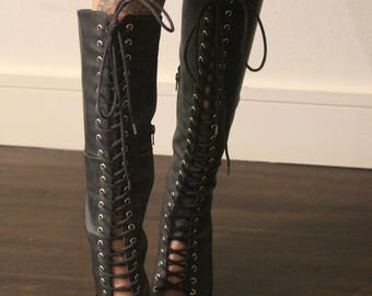 lace up thigh high boots size 8.5