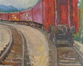 VINTAGE ART ORIGINAL Oil Painting by a Soviet Ukrainian Artist Zykunov P. 1980, Signed, Railway, Train painting, Ukrainian Fine art