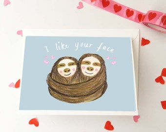 Sloth Love Card, Anniversary Sloth Card, Illustrated Funny Animal Couple Card, I Like Your Face, Cuddling Sloths