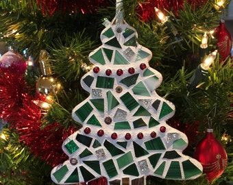 Stained Glass Mosaic Christmas Tree, Christmas Tree Ornament, Christmas Ornament, Christmas Decor, Tree Ornament, Hostess Gift