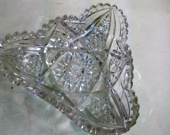 Vintage Tri-angle Cut Glass Dish/Versatile And Quite Lovely On Its Own/Excellent Use Condition (H)