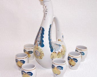 Vintage Porcelain Drinking Set. Hand Painted Porcelain Pitcher and Six Cordial Cups. Soviet Porcelain. Pitcher Set. Decanter with Cups.