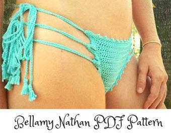 "Crochet Bikini Bottom Pattern, ""Bella""  Crochet Brazilian Style Bottom, Sizes XS to L"