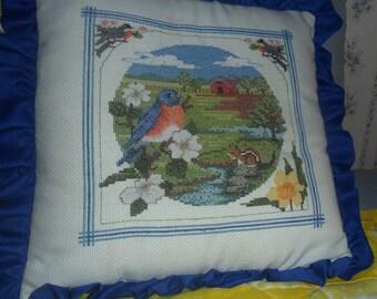 Bird Cross Stitch Pillow