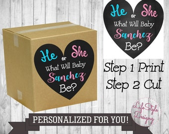He Or She Gender Reveal Sign - Balloon Box Sign - Gender Reveal Balloon Release - Baby Shower - Party Decor - Boy Or Girl - Printable