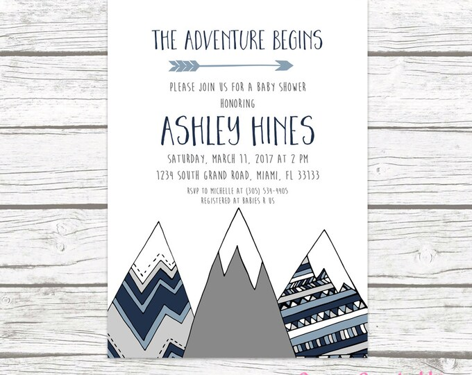 Adventure Baby Shower Invitation, Mountain Baby Shower Invitation, Tribal Baby Shower, Boy Baby Shower, Adventure Awaits Printable Invite