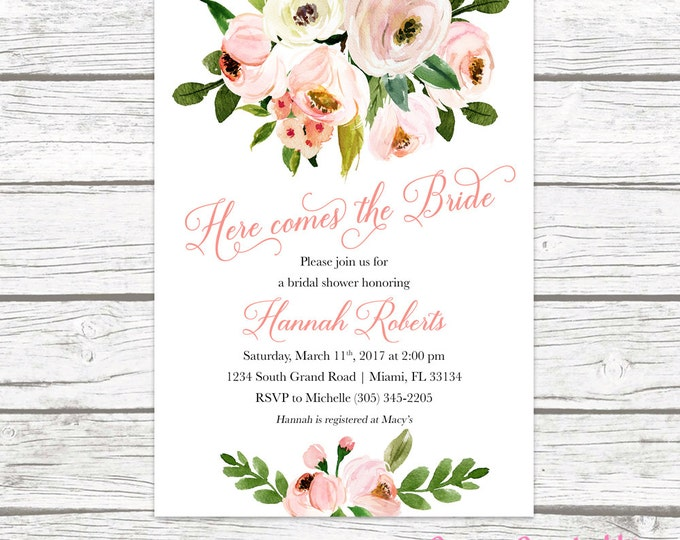 Rustic Bridal Shower Invitation, Garden Bridal Shower Invitation, Here Comes the Bride Invitation, Pink Floral Printable Invitation