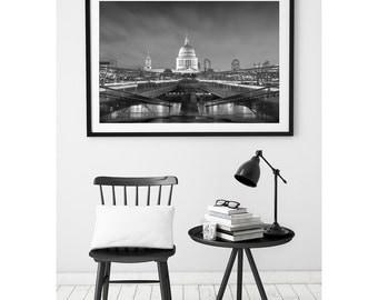 London Phorography, London Monochrome, St Pauls Cathedral, Millenium Bridge, Night, Black And White, Fine Art, Large Wall Art, Travel Print