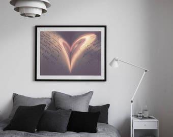 Still Life Photography, Vintage book love, Love Print, Fine Art Photography, Heart Shape, friendship art print, Bibliophile Wall Art Decor