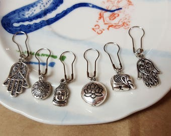 Free Shipping - Yoga Themed Stitch Markers for Knitting and Crocheting