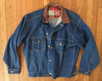 Vintage Denim Marlboro Jean Jacket - Vintage Denim Jean Jacket - Large