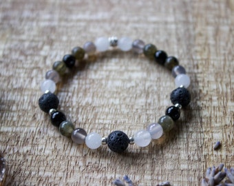 Mountain Aromatherapy Gemstone Bracelet, Essential Oil Diffuser, Lava Rock, Natural Crystals, Energy Bracelets - #01AB-05-009