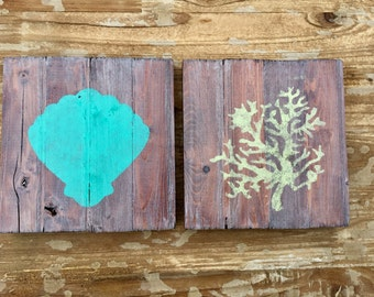 Beach sign set shell coral signs beach house ideas beach house decor rustic beach decor rustic beach cottage distressed sign coastal decor