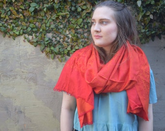 Red vegan Indian scarf