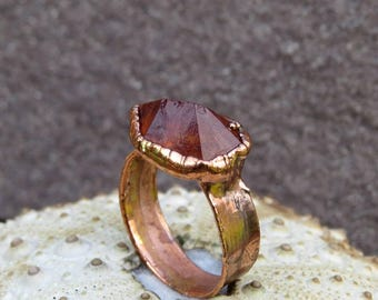 Rough citrine ring | Citrine crystal ring | Citrine copper ring | Honey citrine electroformed ring | Raw citrine wide ring