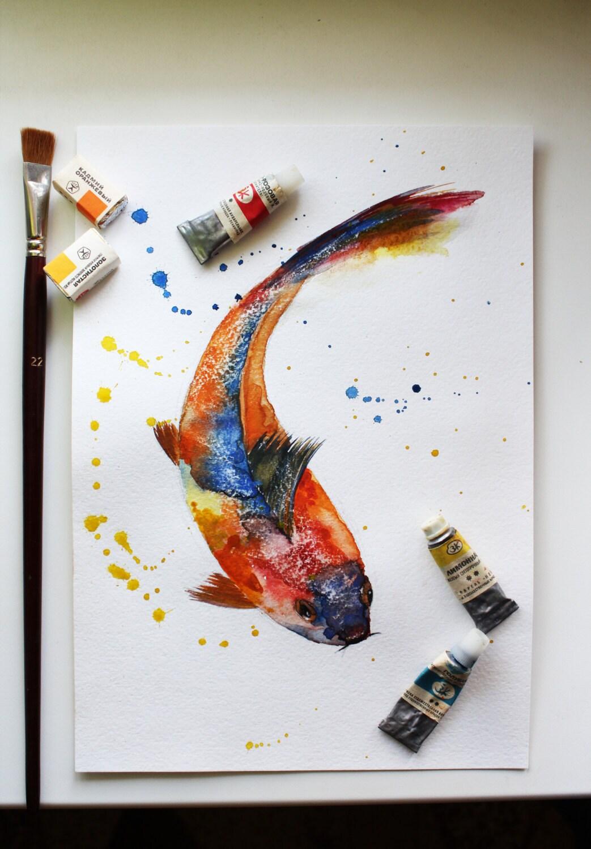 Watercolor Koi Fish Original Waterc...