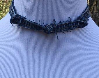 Denim Choker, Blue Denim Choker, Denim Necklace, Upcycled Jeans, Upcycled TShirt, Handmade Denim Choker, Blue Necklace, Knotted Denim Choker