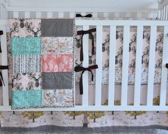 Autumn Fawn Crib Set, quilt, modern bedding, crib bedding, fawn, stag, deer, going stag, baby girl, baby boy, gender neut