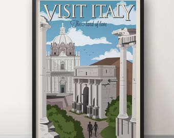 Vintage Travel Poster Italy, Travel, Rome, Decoration, Wall Art, Printable Poster, Old
