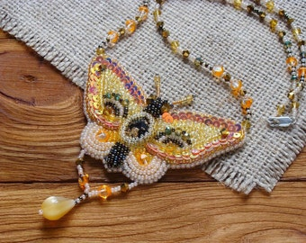 Butterfly necklace Bead embroidery butterfly jewelry Stocking stuffers for women Glass and bead necklace Statement necklace Beaded necklace