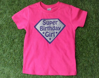 Super Birthday Girl Shirt, Girls superhero birthday shirt, hot pink shirt, purple shirt, silver glitter super emblem, girls superhero party