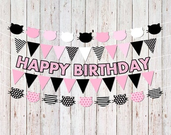 Cat Party Decorations, Kitty Cat Birthday Banners, Cat Party Banners, Kitty Birthday Party Decor, Cat Birthday Decorations, Cat Garlands