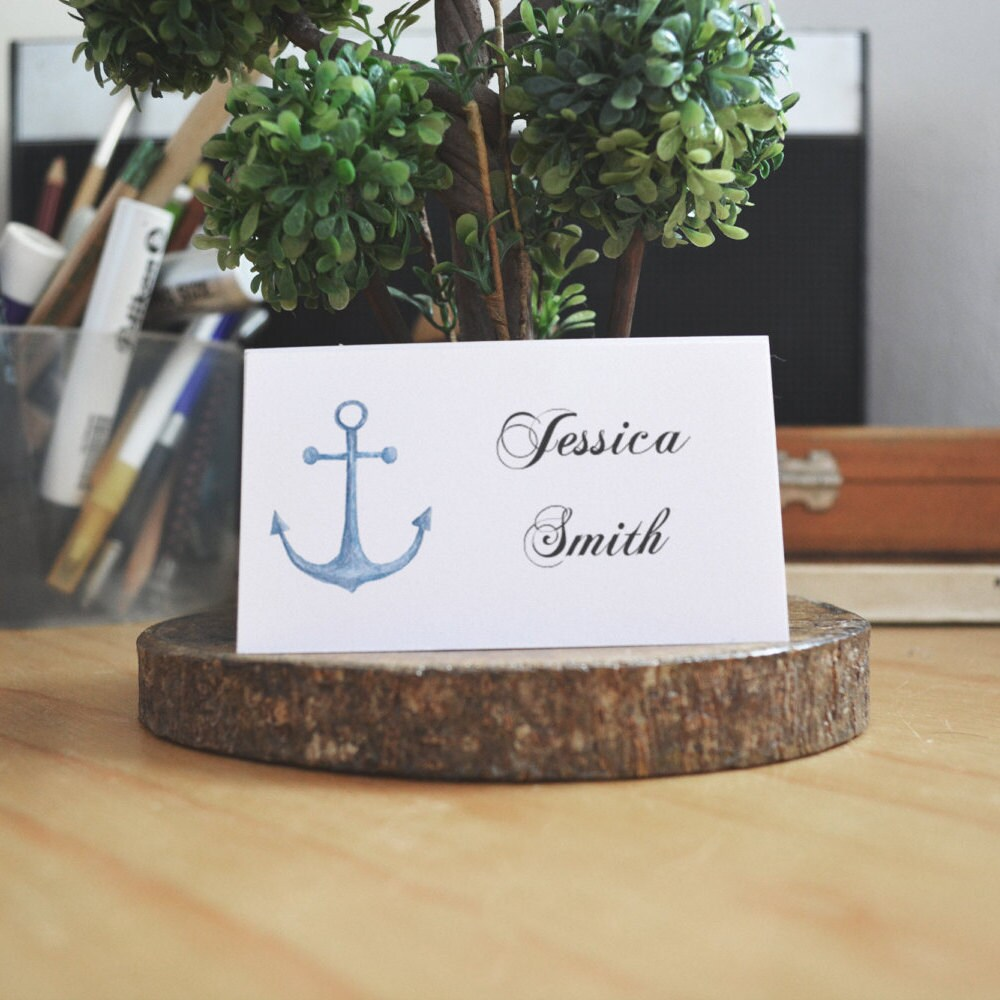 Beach wedding place cards template Blue name cards printable ...
