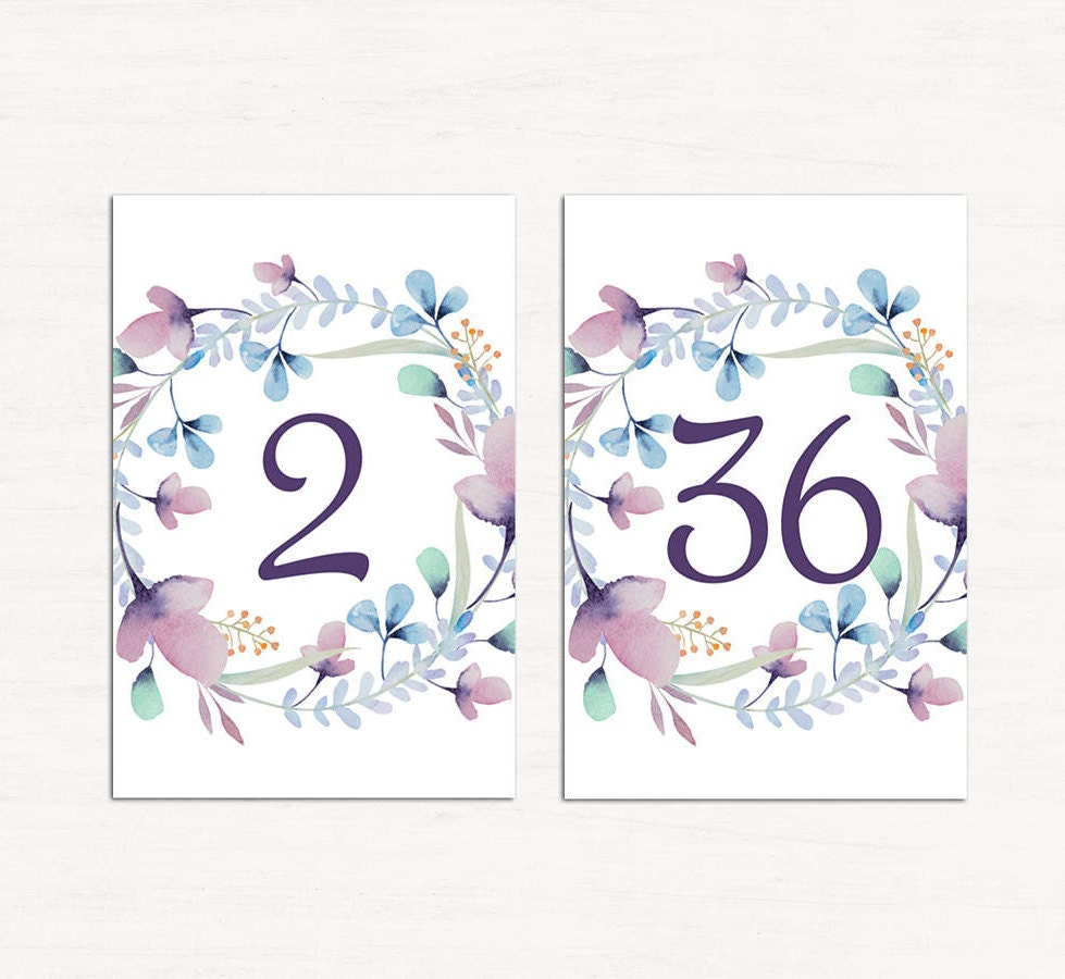 Wedding table numbers pdf Floral table cards download Watercolor ...