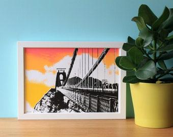 Clifton Suspension Bridge, Bristol, Architecture Print, UK, Industrial, Travel, A4 Screenprint, Home Decor, Silkscreen, Halftone, Sunset