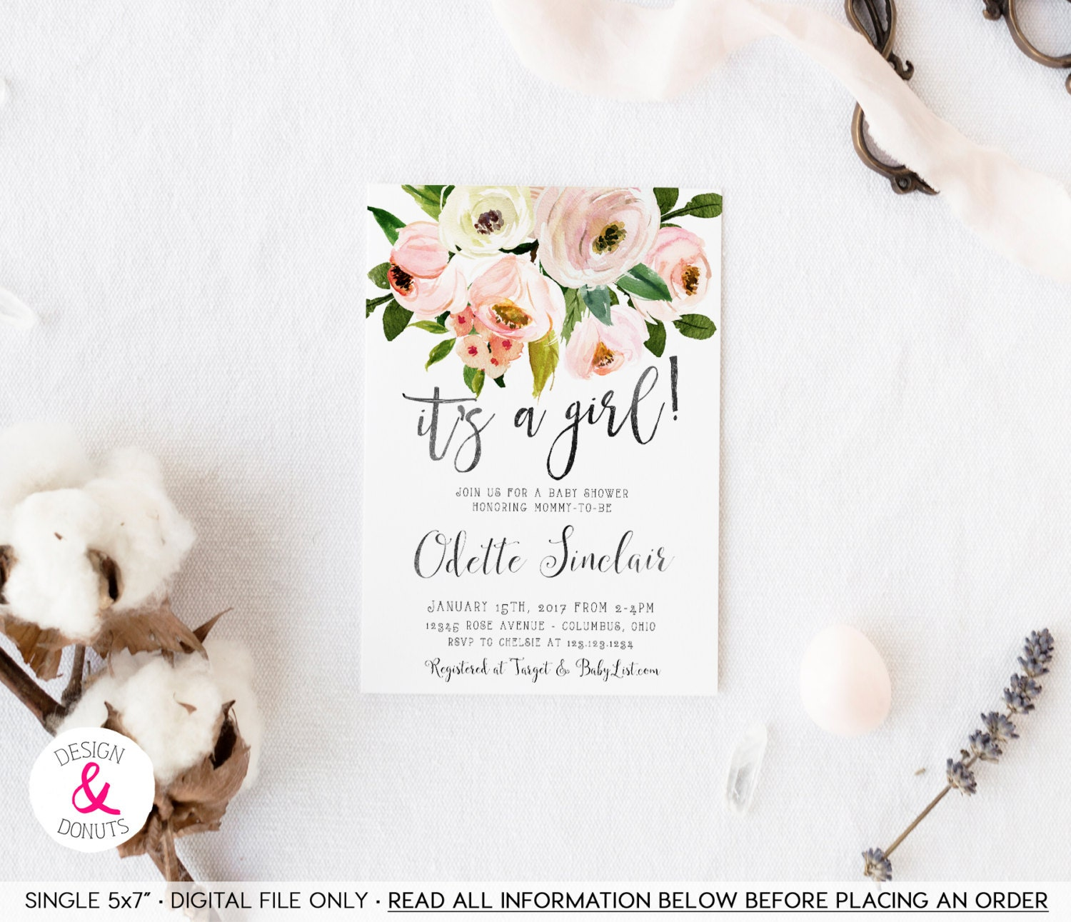 Country Floral Baby Shower Invitation It s a Girl