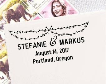 String of Light, Rustic Wedding Stamp, Self Inking Return Address Stamp, Personalized Rubber Stamp, Custom Stamp, Invitation Stamp HS233P