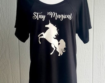 Unicorn t-shirt, women's shirt, trendy clothing, geek chic, women's wear, gifts for women, black and white shirt, unicorn printed shirt