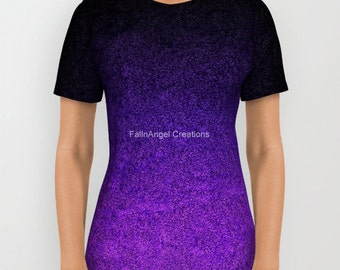Purple and Black Glitter Gradient T-Shirt, 6 Sizes Available!