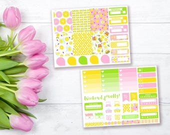 Lemonade mini weekly stickers kit | Erin Condren vertical stickers | Weekly planner stickers | Mini weekly planner kit