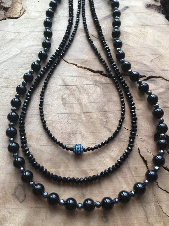 Black Onyx & Blue Enamel Round Bead
