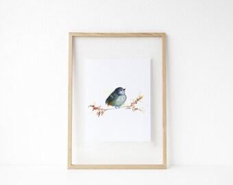Little Bird Perched / Blue Bird / Watercolor / UNFRAMED Art Print / 8.5 x 11 in